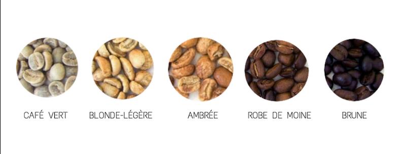 Différentes torréfactions de café